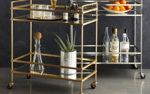 Stylish Bar Cart | Modern Bar Cart | Stocked Bar Cart