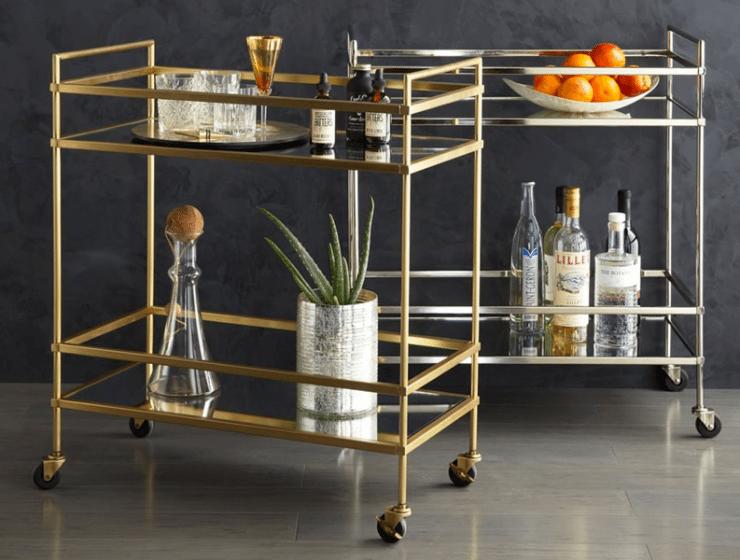 Stylish Bar Cart | Modern Bar Cart | Stocked Bar Cart
