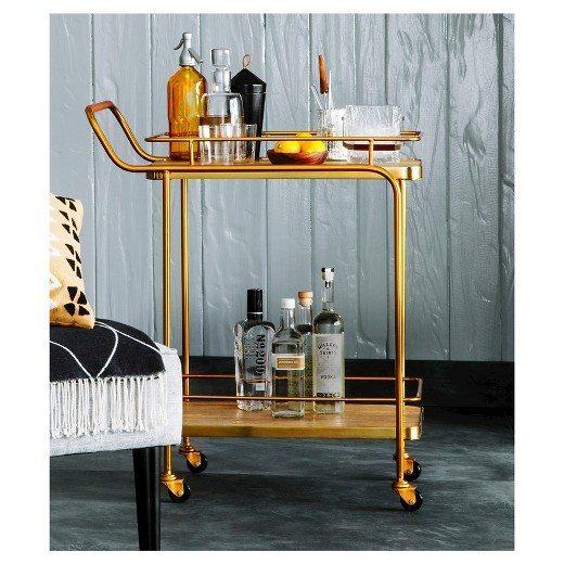 Metal Wood Leather Bar Cart | Stocked Bar
