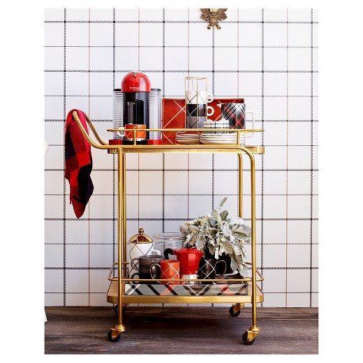 Coffee Bar Cart | Plaid Tray | Gold Bar Cart