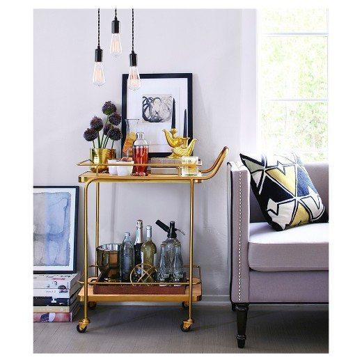 Modern Bar Cart | Brass Bar Cart | Stocked Living Room Bar