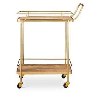 Gold Wood Bar Cart