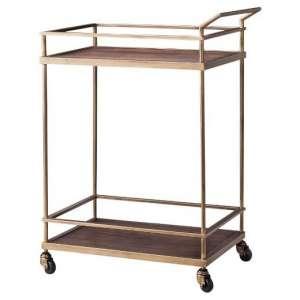 Brass Wood Bar Cart