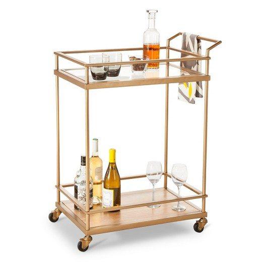 Wood Glass Gold Bar Cart Stocked