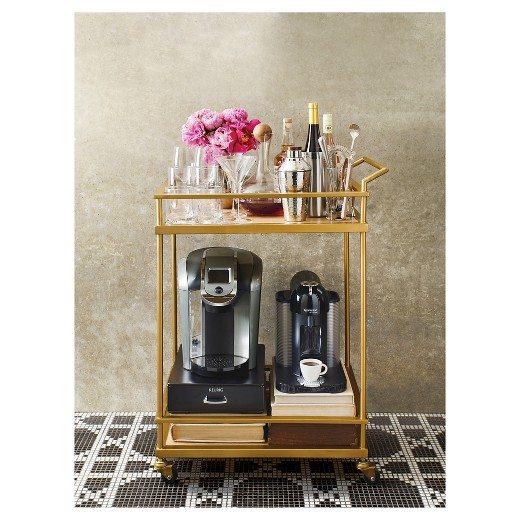 Wood Brass Bar Cart | Coffee Cart