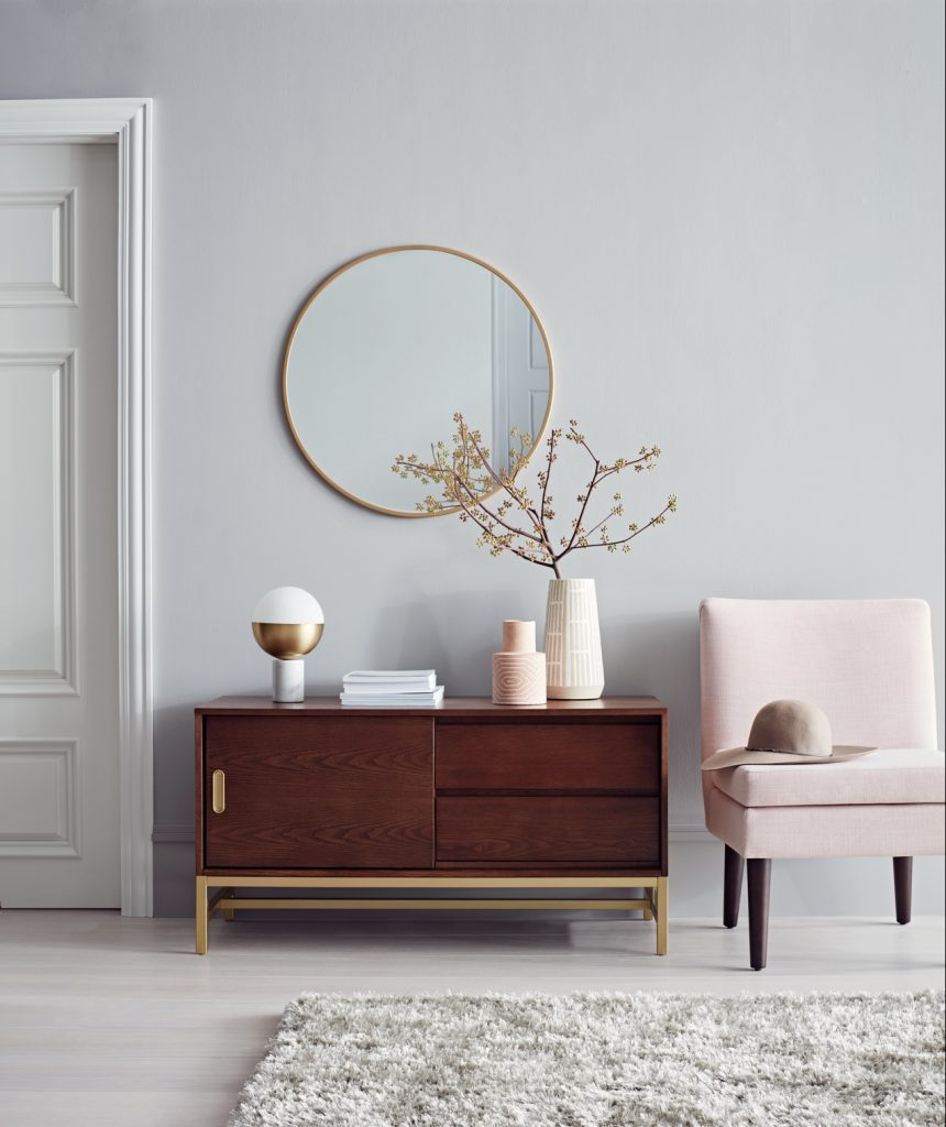 Target Project62 Home Decor | Blush | Slipper Chair | Vignette | Buffet Cabinet | Round Mirror | Living Room