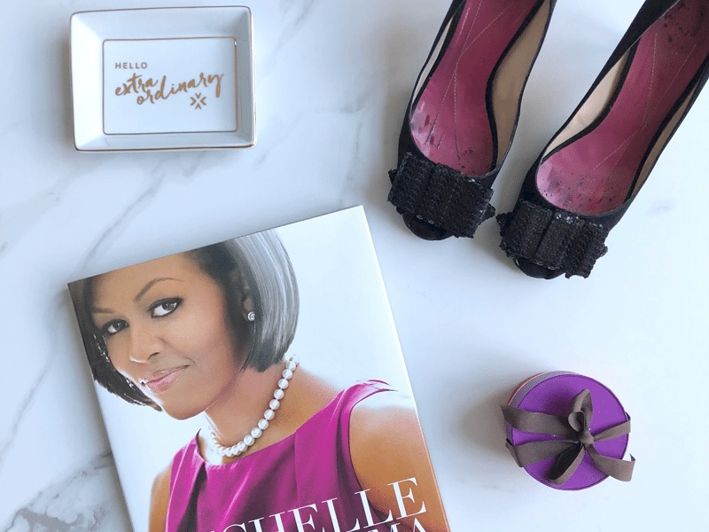 Styled to Sparkle Flat Lay | Michelle Obama Book | Trinket Tray | Sequin Bow Shoes | Kate Spade New York
