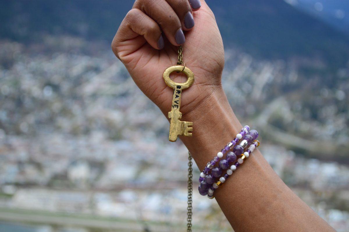 Alora Boutique   Brass Key Necklace + Amethyst Beaded Bracelets