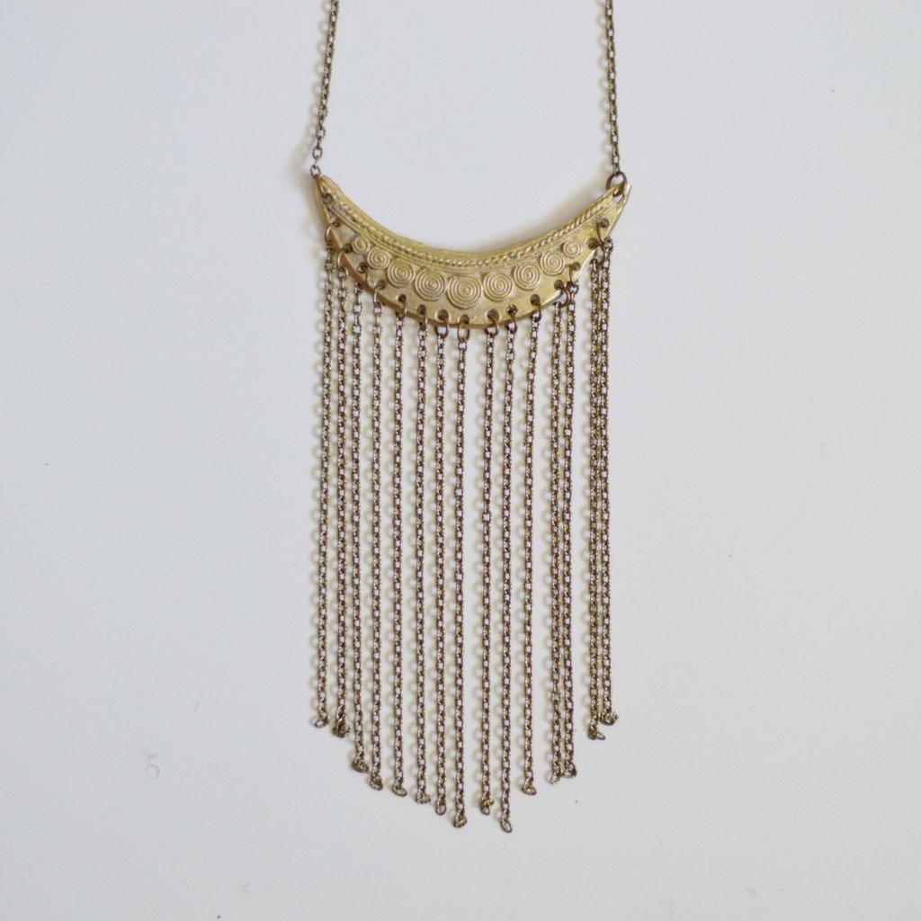 Alora Boutique   Statement Fringe Necklace Brass