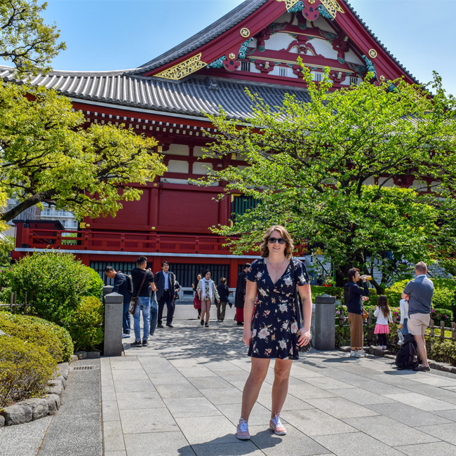 what to pack for japan, floral dress, spring dress, asakusa, sensoji temple, tokyo, outfit ideas, japan trip outfit ideas, japan trip outfit inspo, what to wear in japan, japan in spring, spring outfits japan, what to wear in japan in the springtime