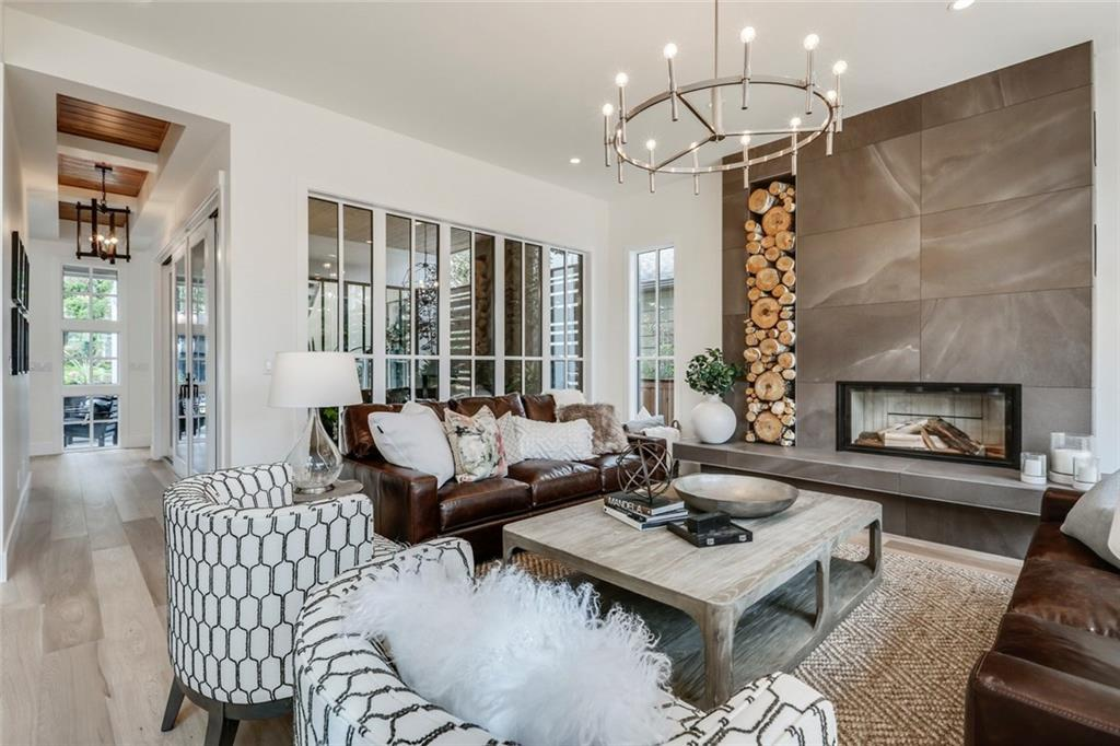 Trickle Creek Homes, Open Concept Main Floor, Living Room, Wood Burning Fireplace, Modern Farmhouse, The Maxwell, Altadore Calgary Living