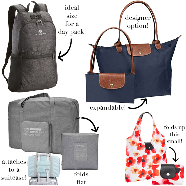 what to pack, day bag ideas, stylish day bags, stylish tote bags, things to pack, must-pack items, shopping tote, longchamp tote, eagle creek backpack, folding duffel bag, packable bag ideas, collapsible bags