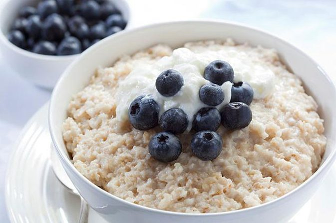 bowl of oatmeal with blueberries