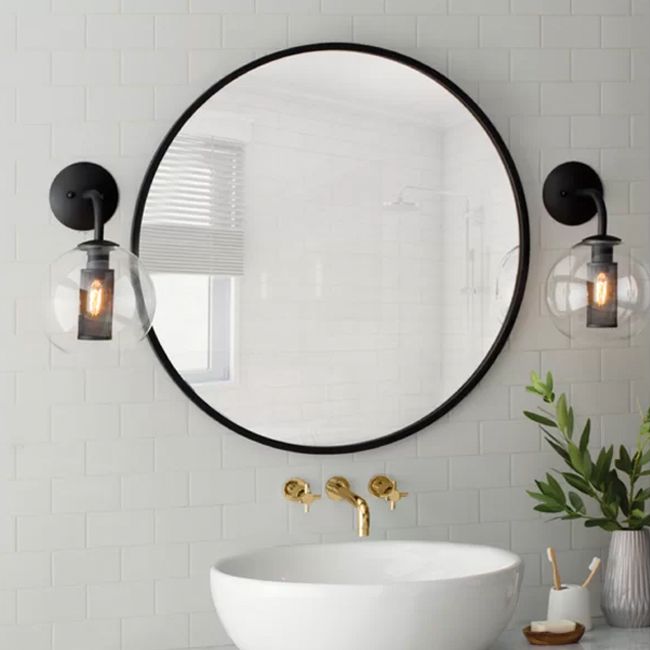 Powder Room Ideas | White Subway Tile | Round Mirror | wall sconces | Vessel Sink | wall Faucet