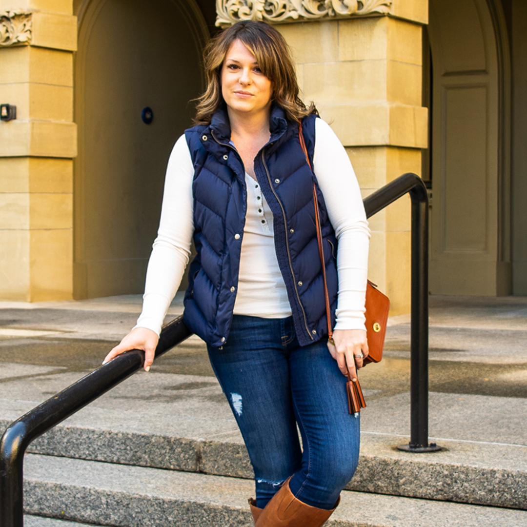 best vest looks, how to style a vest, how to wear a puffer vest, puffer vest style