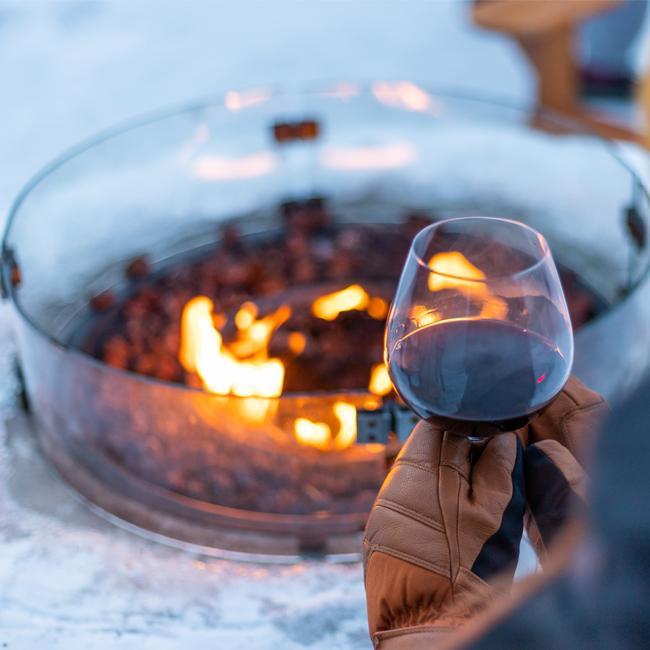 Banff Gondola Alpenglow Festival, Wine by the fire, wine beside fire pit