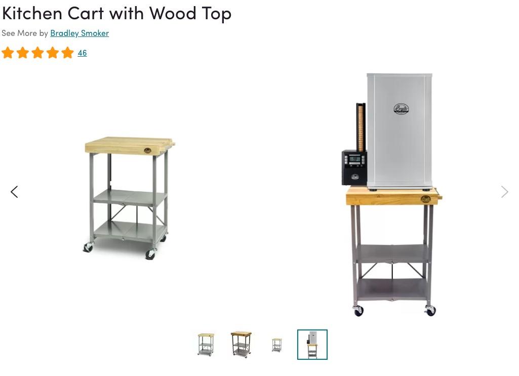bradley smoker kitchen cart with wood top, outdoor kitchen