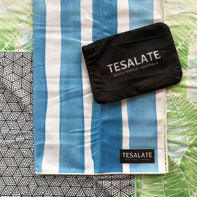 tesalate towels, beach towels, sand free beach towel, australian beach towel, microfibre towel, fast drying towel