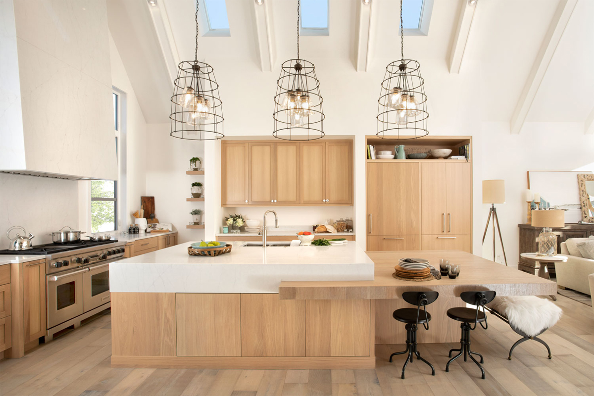 open concept kitchen, kitchen vaulted ceilings, white oak cabinets, chefs kitchen, kitchen inspo, kitchen inspiration, kitchen ideas, modern kitchen style, modern kitchen design,calgary custom home builder, calgary luxury home builder, calgary infills