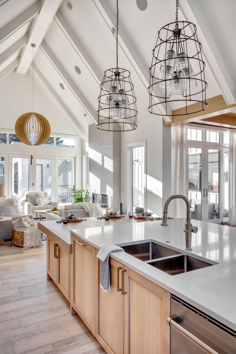 open concept kitchen, kitchen vaulted ceilings, white oak cabinets, chefs kitchen, kitchen inspo, kitchen inspiration, kitchen ideas, modern kitchen style, modern kitchen design, calgary custom home builder, calgary luxury home builder, calgary infills