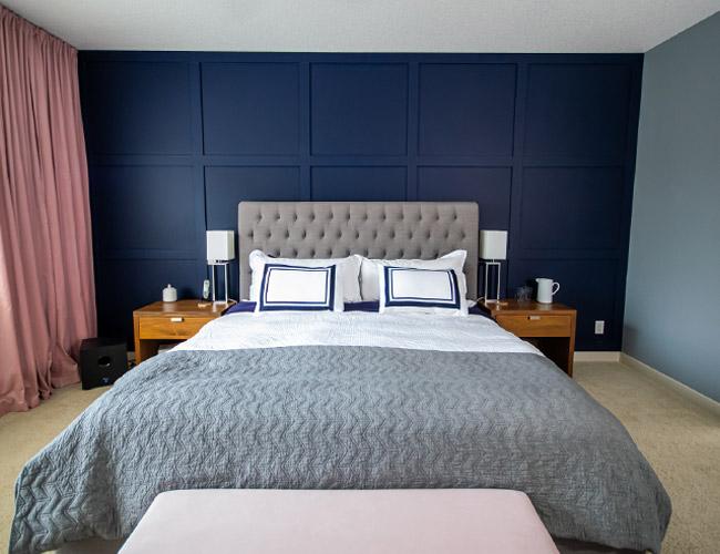 master bedroom design inspiration, master bedroom feature wall, large bedroom feature wall, custom millwork wall DIY, DIY millwork, DIY custom trim, DIY custom millwork, master bedroom ideas, master bedroom interior design