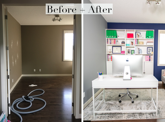 home office before after, blogger office, blogger home style, blogger house, blogger home office, navy and white home office, white bookcases, IKEA BILLY Bookcases, before and after home photos, home renovation inspiration, home reno inspo, home reno ideas, how to reno your home office, navy and white home style
