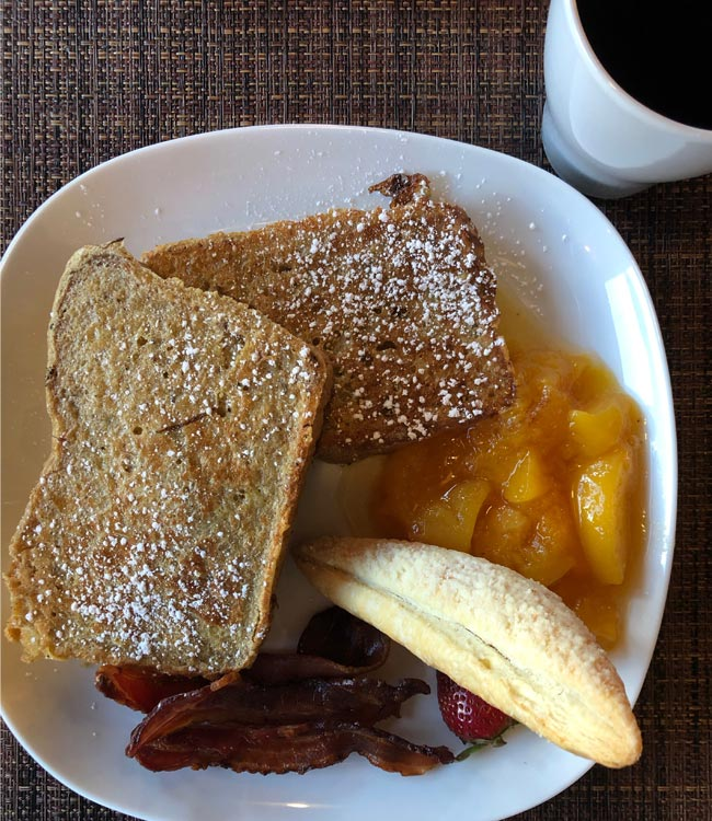 french toast, full breakfast, breakfast plate, french toast and fruit