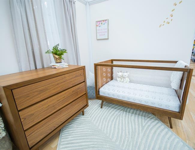 nursery design, nursery inspo, nursery design services, buybuy baby nursery furniture, mid-century modern nursery, acrylic crib, clear crib, walnut baby furniture, walnut crib