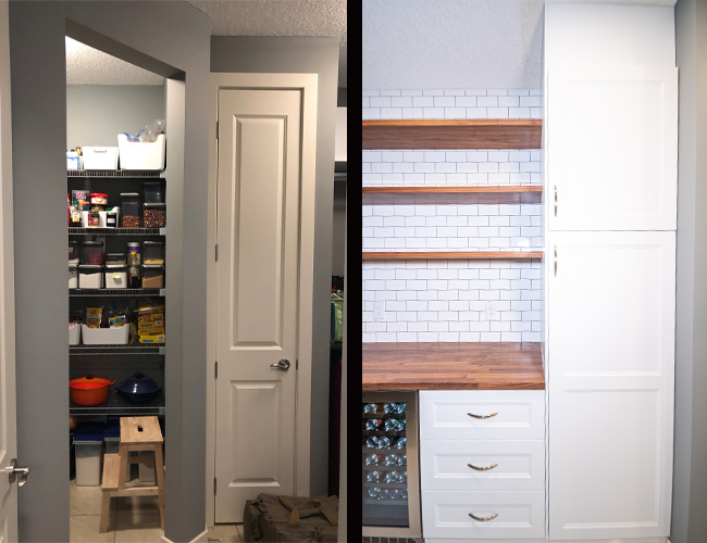 pantry renovation before and after, how to create a butlers pantry, butlers pantry builder home, cardel homes, walk through pantry, walk through butlers pantry, pantry renovation tips, how to renovate your pantry