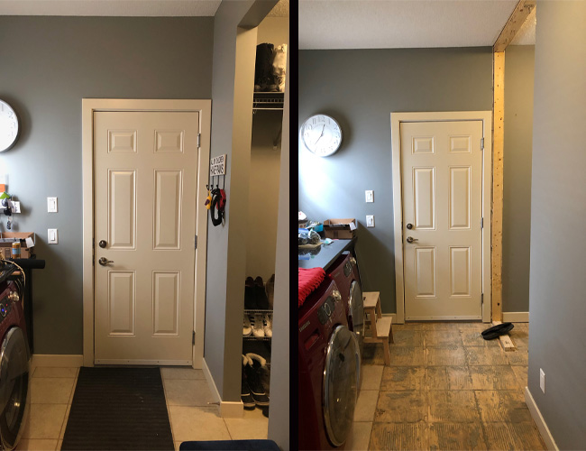 mud room renovation before and after, pantry renovation before and after, floor plan view, pantry floor plan, walk through laundry room floor plan, walk through mud room floor plan, walk through pantry floor plan