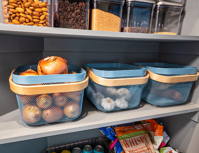 pantry canisters, stuckonyou labels, oxo POP containers, custom pantry shelving, pantry renovation ideas, pantry organization, organized pantry, how to organize baking ingredients in your pantry, onion baskets, how to store onions, how to store potatots, how to store garlic