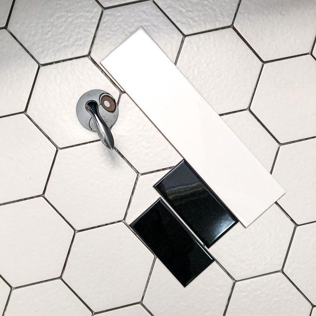hex tile, subway tile, bathroom tile selections, tile source calgary