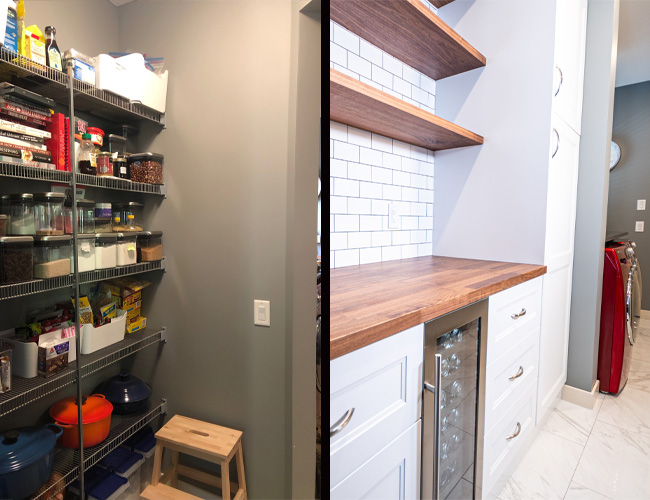 pantry renovation before and after, how to create a butlers pantry, butlers pantry builder home, cardel homes, walk through pantry, walk through butlers pantry, pantry renovation tips, how to renovate your pantry, kitch floating shelves, ikea cabinetry, ikea axstad cabinet, ikea sektion cabinetry, le creuset cookware, open shelving pantry, subway tile butlers pantry, walnut counter tops, walnut butcher block counters, pantry with pullouts, custom pantry cabinet