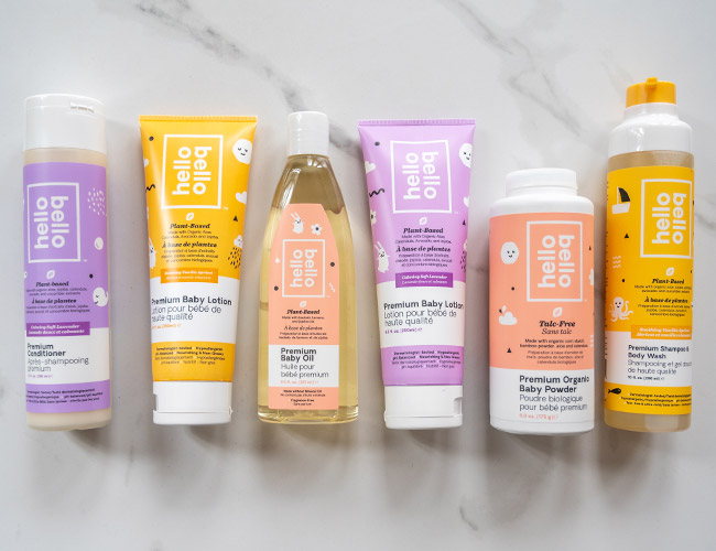 hello bello review, review of hello bello baby products, hello bello buybuy BABY Canada, hello bello lotion, hello bello cream, hello bello baby oil, mineral oil free baby oil, talc free baby powder, lavender baby bath products, clean beauty for baby, toxin free baby bath products, natural baby products