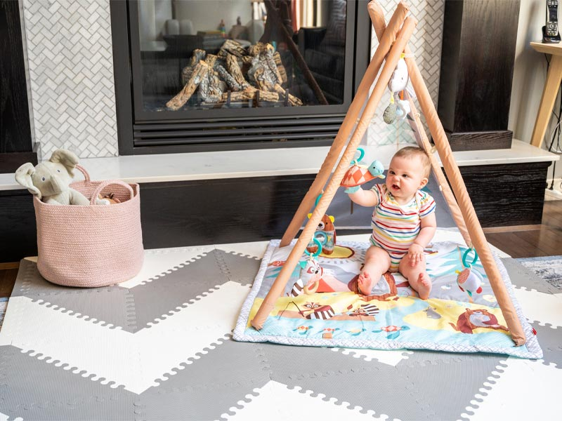 skip hop treetop friends activity gym, skip hop play gym, best baby play gym, play gym for tummy time, tummy time mat, unisex baby play gym, baby gift ideas, skip hop camping cubs activity gym, baby tipi play mat