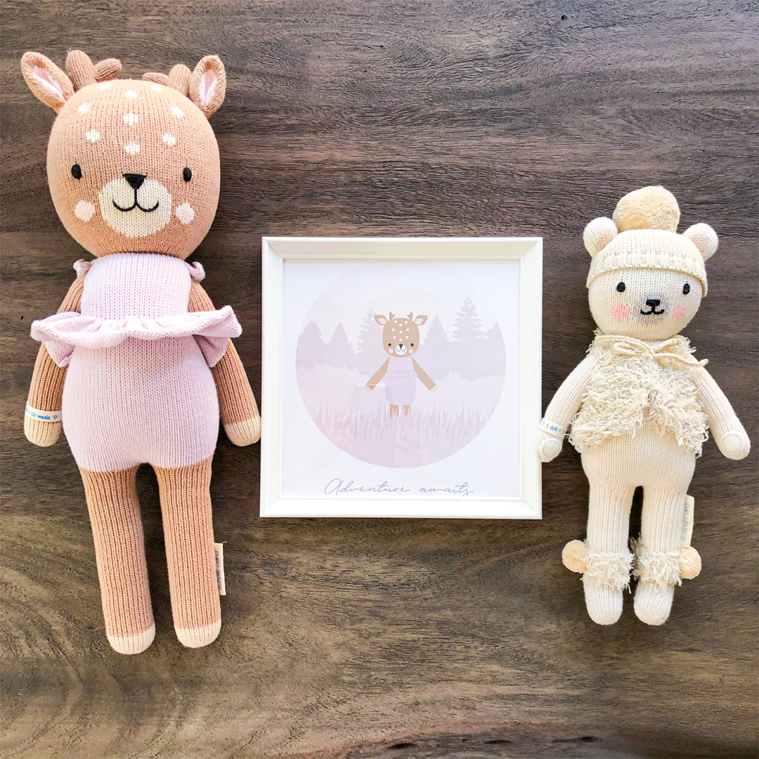 baby gifts that give back, baby gift ideas, gifts for new parents, gifts that support charities, charitable baby gift, unique baby gift, twinning outfits for parents, twinning baby gifts, cuddle and kind dolls, cuddle and kind polar bear, cuddle and kind violet the fawn