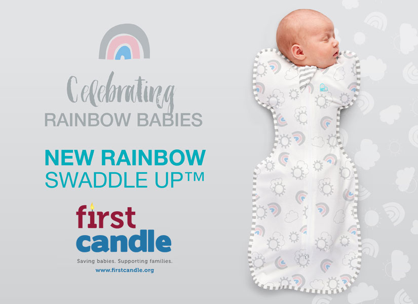 baby gifts that give back, baby gift ideas, gifts for new parents, gifts that support charities, charitable baby gift, unique baby gift, gifts for rainbow babies, miscarriage baby gift, gifts after miscarriage, rainbow baby swaddle sack, best sleep sack gift, best sleep sacks for baby, love to dream rainbow swaddle up, love to dream swaddle up sleep sack