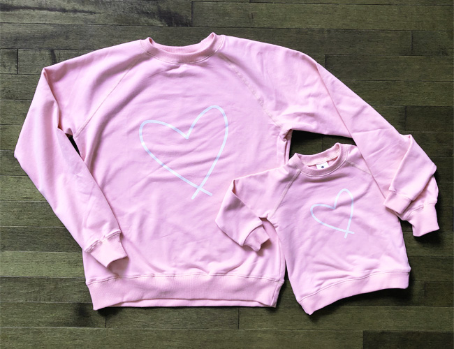 baby gifts that give back, baby gift ideas, gifts for new parents, gifts that support charities, charitable baby gift, unique baby gift, twinning baby gift, mommy and me baby gift, love for lewiston, lewiston label pink, lewiston label sweatshirts, made in canada baby gift