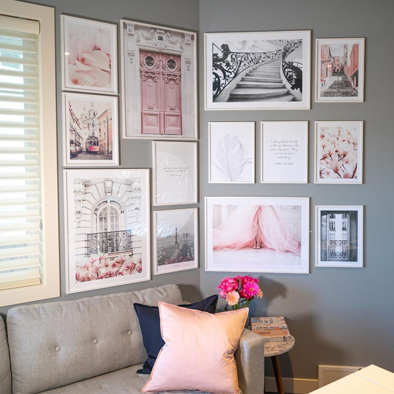 gallery wall, gallery wall ideas, gallery wall inspo, poster store discount code, feminine gallery wall, how to create a gallery wall, gallery wall how-to, girly gallery wall, gallery wall design, fashion gallery wall, pink gallery wall