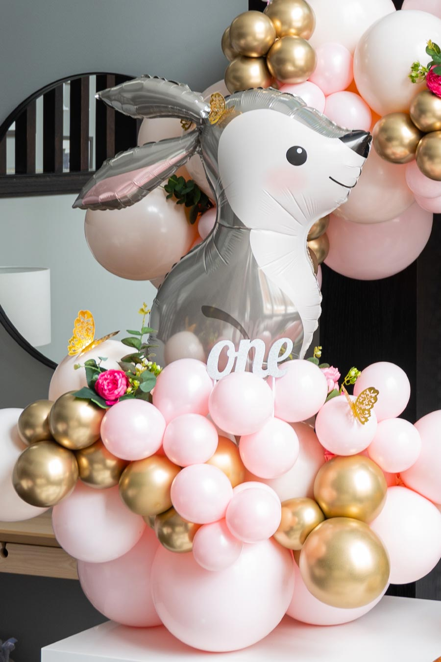 first birthday party ideas for girls, first birthday party, woodland creatures birthday party, forest friends birthday party, feminine forest theme for birthday party, kids birthday party ideas, woodland creature balloon display, woodland creature balloon arch, fox balloons, bunny balloons, first birthday party balloon arch, pink and gold balloon arch, birthday party ideas girls, birthday party inspiration, kids birthday party inspo, baby birthday party, first birthday party inspo, first birthday party inspiration, first birthday party ideas baby girl, baby girl first birthday party, inflated dreams yyc, balloon art Calgary, Sugarbakers cookie co, custom cookies Calgary, crave cupcakes cake, fox cake