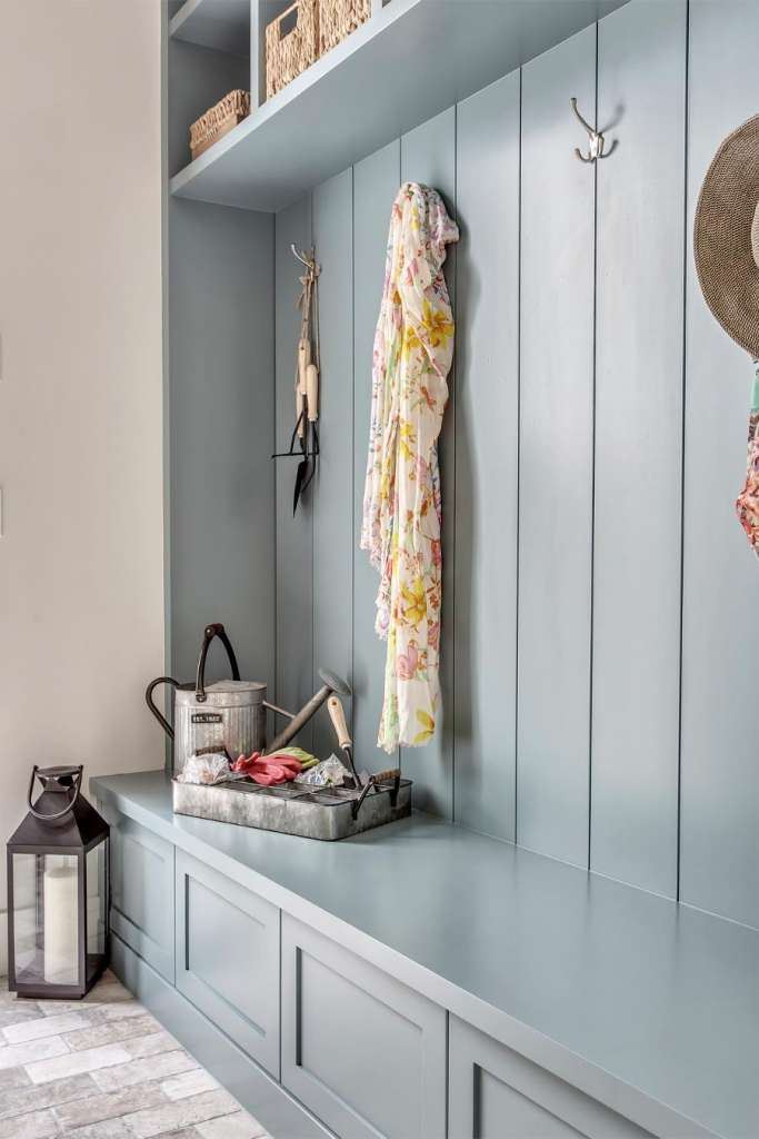 how to decorate with colour, decorate with color, blue accent wall, accent wall color, accent paint color, bright paint color, deep paint color, how to use dark paint colours, dramatic paint colors, best navy for bedroom, navy blue accents home, navy blue accent wall, DIY Board and baton, barn door inspo, barn door inspiration, home inspo, colorful home inspiration, colourful home inspo, paint color ideas, best blue paint colors bedroom, best blue paint colors living room, painted cabinets, blue kitchen, bright colors bedroom, mud room inspiration, blue mud room, herringbone floors, herringbone tile floor, mid room cabinetry, mud room storage