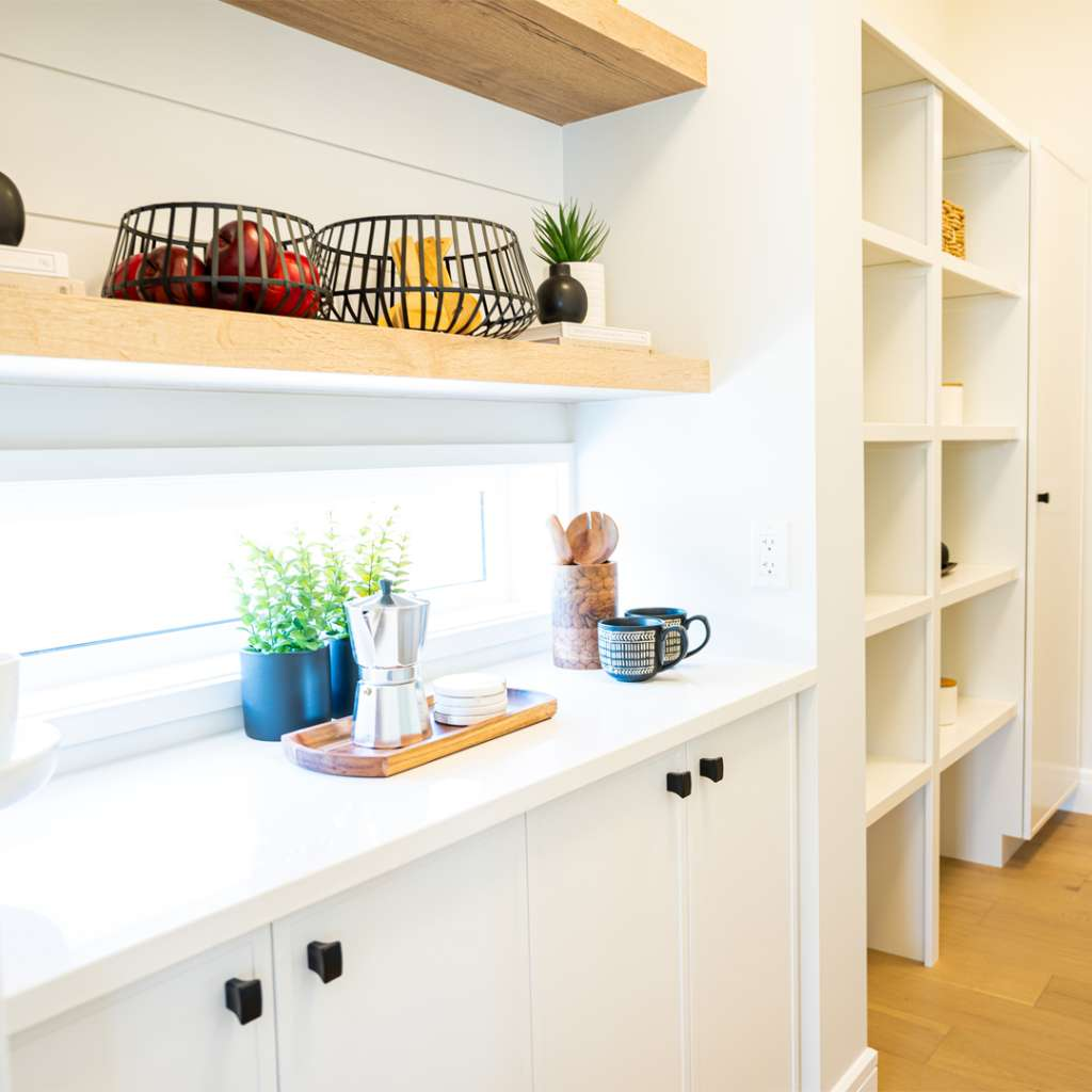 pantry shelving with wire baskets