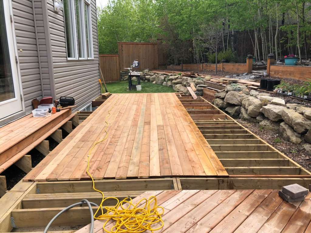 building of a new deck in progress