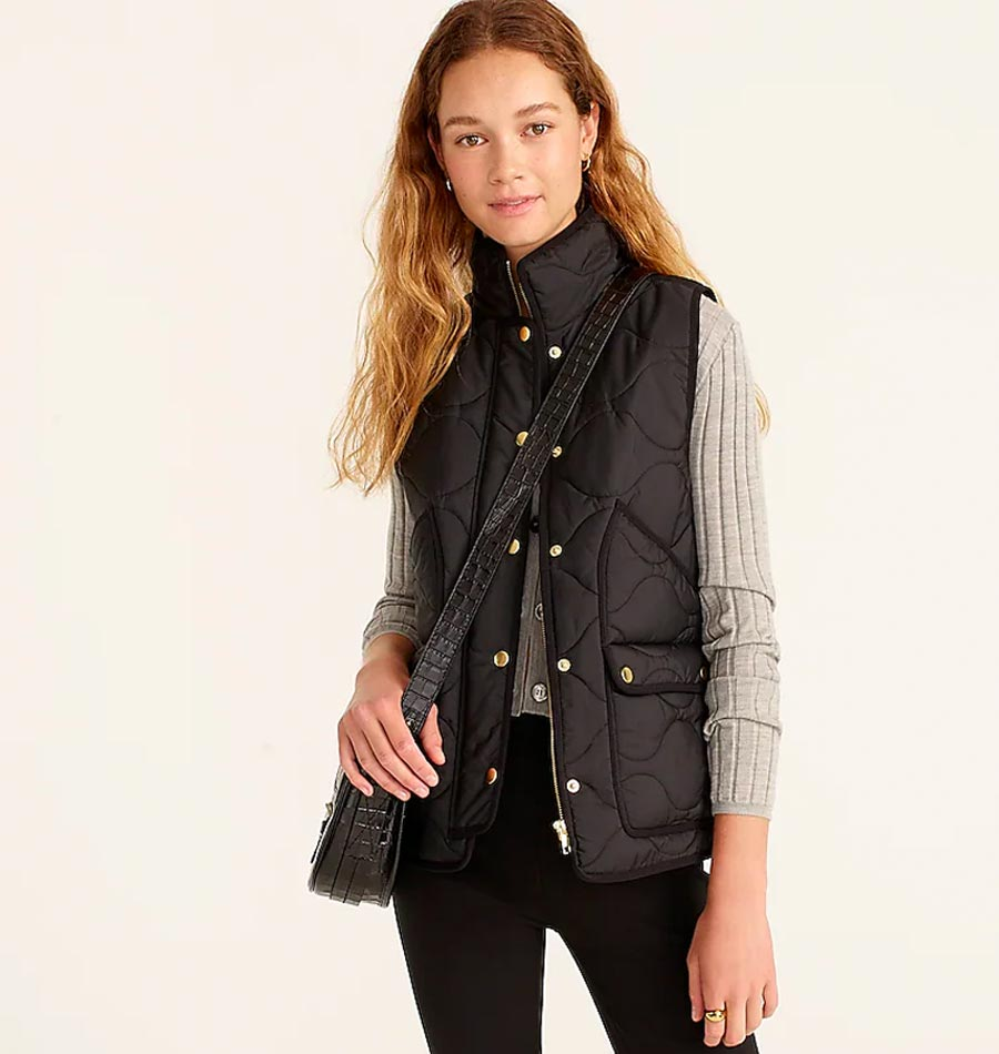 how to style a down vest, styling a quilted vest, vests for fall