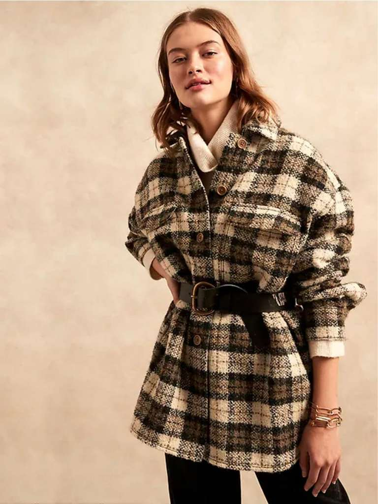 how to style a plaid shacket, how to make a shacket look grown up, shackets for adults, coats for fall