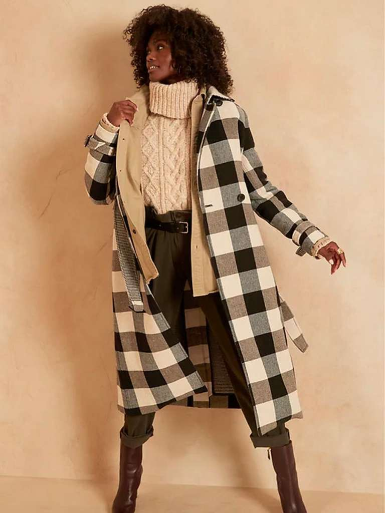 Plaid overcoat, plaid trench coat, how to style a trench coat, classic tartan trench coat