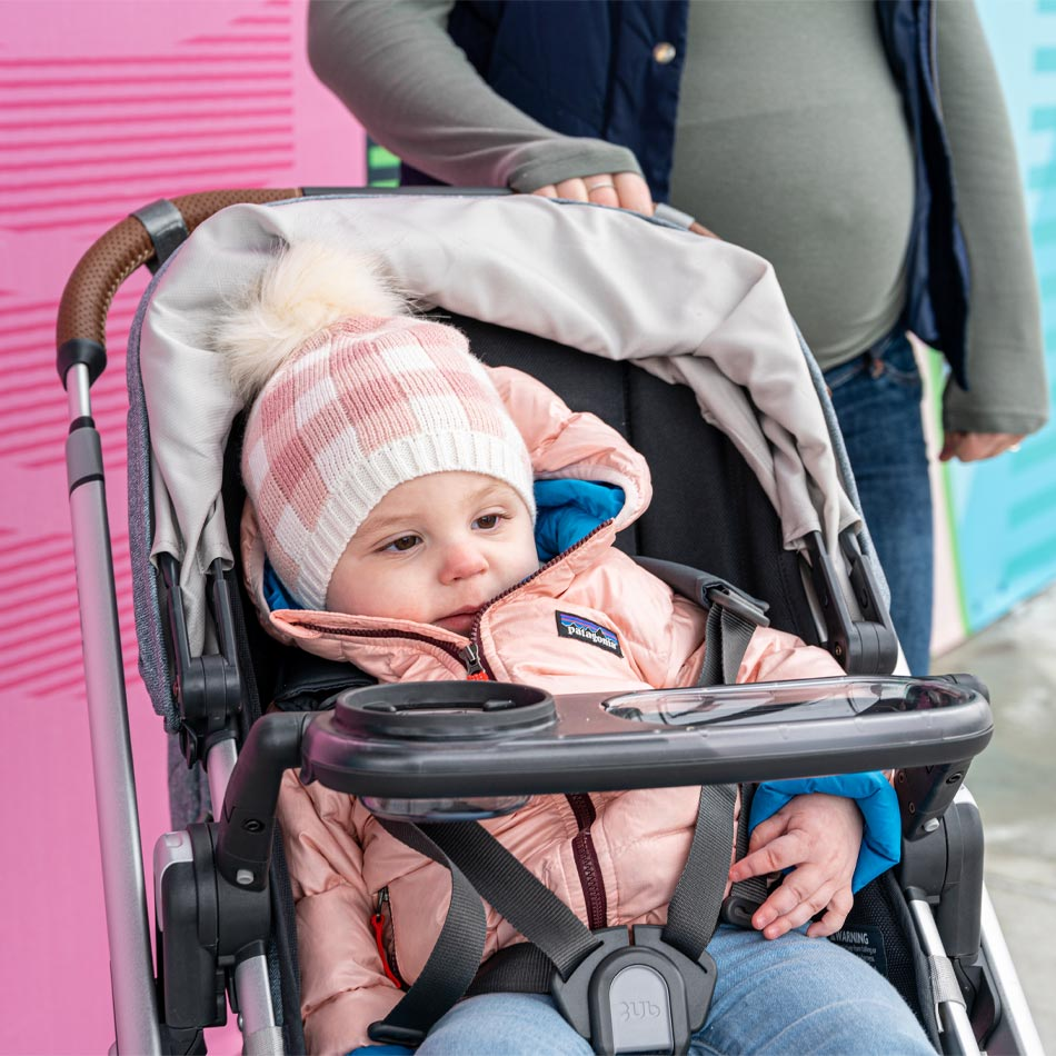 UPPAbaby VISTA stroller review, best stroller for two kids, best double stroller, UPPAbaby strollers, UPPAbaby VISTA Gregory, best stroller, modern stroller, modular stroller, UPPAbaby VISTA cozy galosh, snack tray