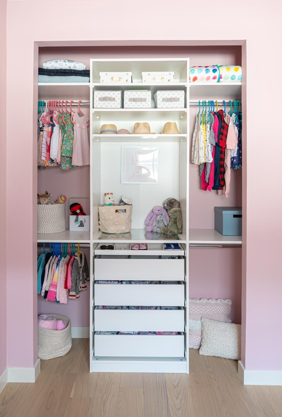 pink nursery, feminine nursery, baby girl room, baby girl nursery, white crib, white crib pink walls, pink walls nursery, modern feminine nursery, modern girls room, modern baby girl room, pompom curtains nursery, IKEA PAX Wardrobe hack, IKEA PAX Wardrobe nursery closet,